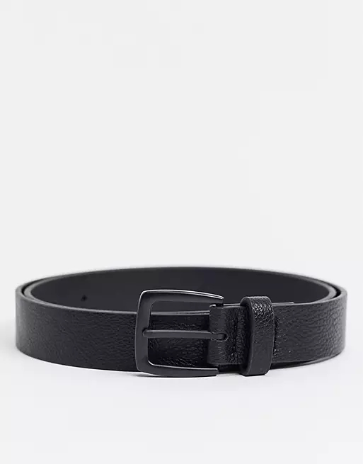 ASOS DESIGN wide belt in black faux leather with matte black buckle detail