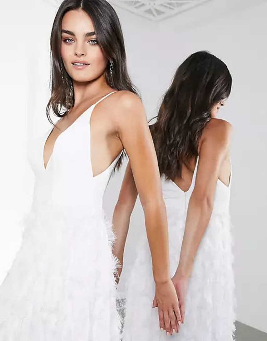 ASOS EDITION Afira plunge wedding dress with feather effect skirt