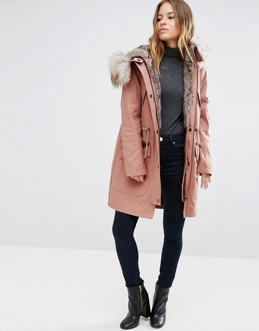 ASOS PETITE Parka With Detachable Faux Fur Liner