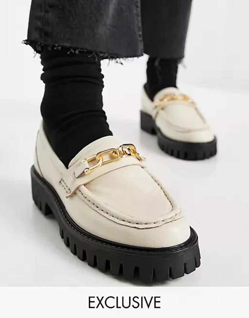 ASRA Freya chunky loafers in milk leather