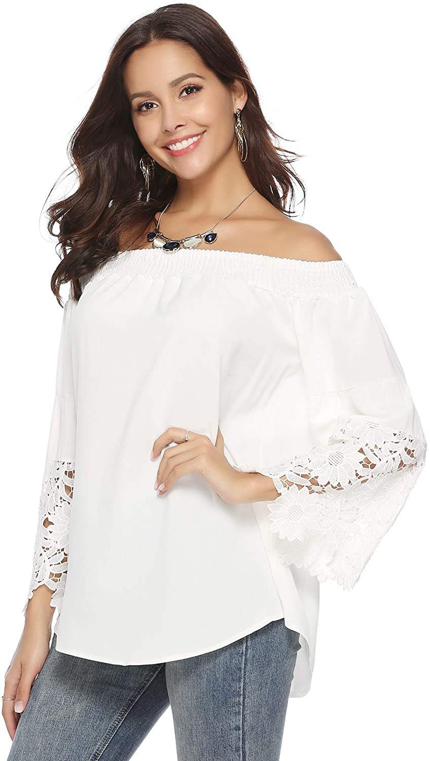 Abollria Women's Summer Off Shoulder Long Sleeve Lace Floral Casual Tops Blouse