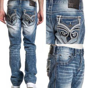 Affliction Men's Denim Jeans ACE FLEUER PHANTOM Embroidered Biker