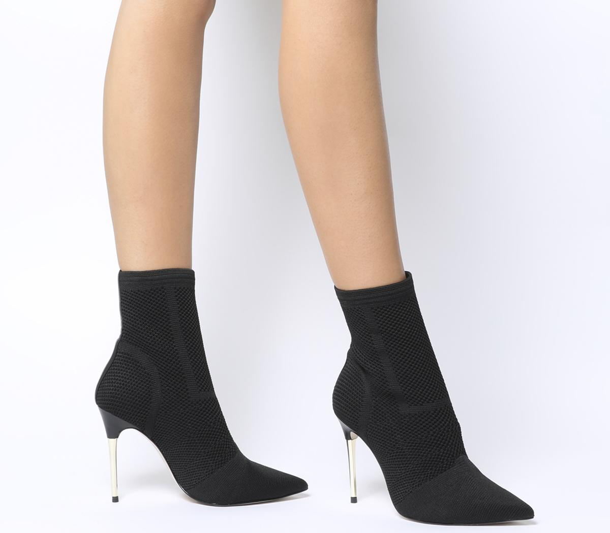 Aflame Metal Heel Sock Boots Black Knit