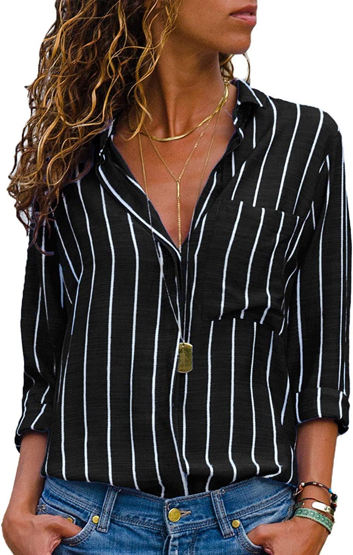 AitosuLa Women's Casual V Neck Stripe Chiffon Blouse Loose Button Down Long Sleeve Shirt Tunic Tops (Stripes Black White, S)