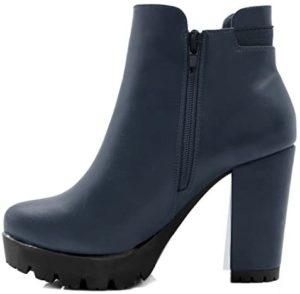 Allegra K Women's Chunky High Heel Platform Zipper Chelsea Boots