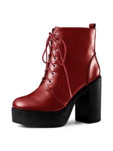 Allegra K Women's Lug Sole Zip Combat Block Heel Ankle Boots