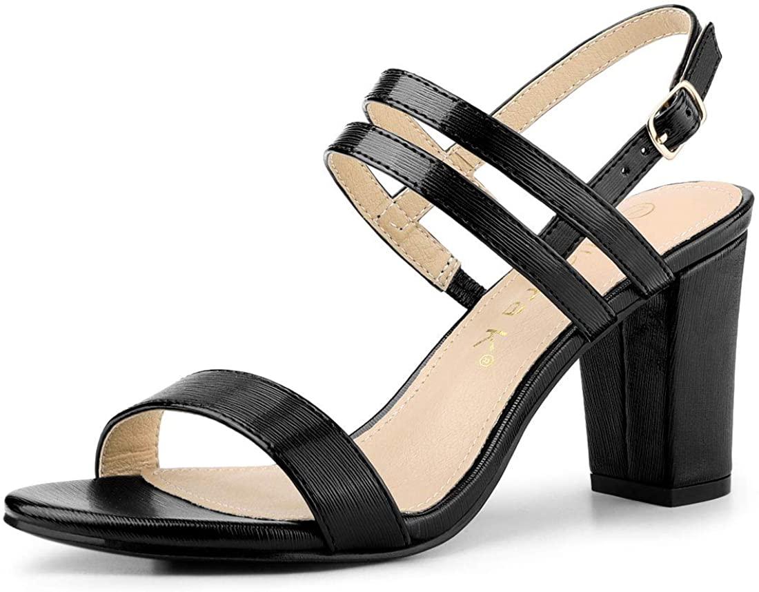 Allegra K Women's Slingback Block Heel Ankle Strap Sandals
