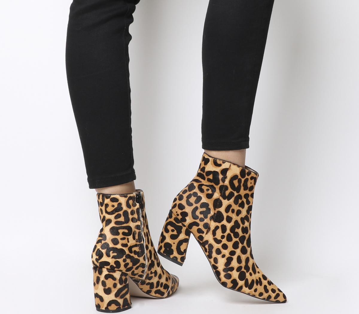 Aloud Point Block Heel Boots Leopard Cow Hair Effect