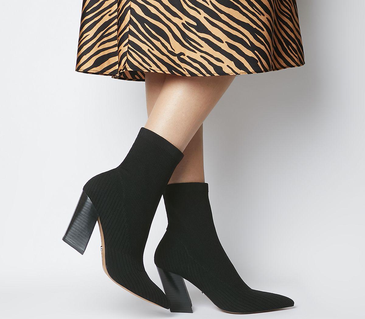 Aniseed Angled Heel Sock Boots Black Knit