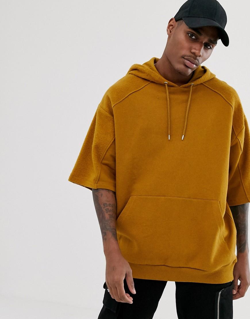 Asos Design Oversized Short Sleeve Hoodie With Reverse Brushback Panels In Tan-brown