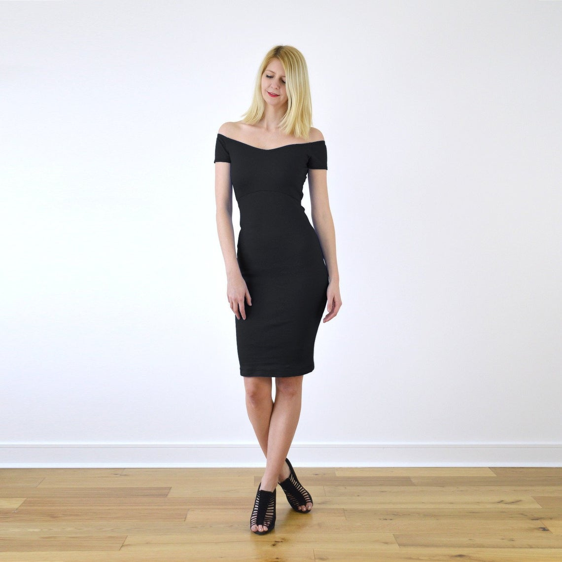 BARDOT | Sexy Off Shoulder Little Black Pencil Dress with Scoop Back. Wide Neck Christmas Party Special Occasion Jersey Bandage Dress