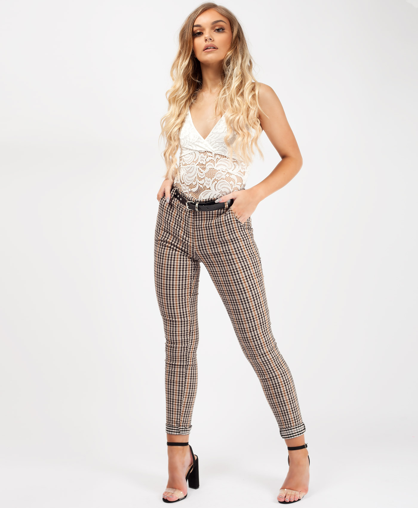 Beige Gingham Check Belted Peg Trousers