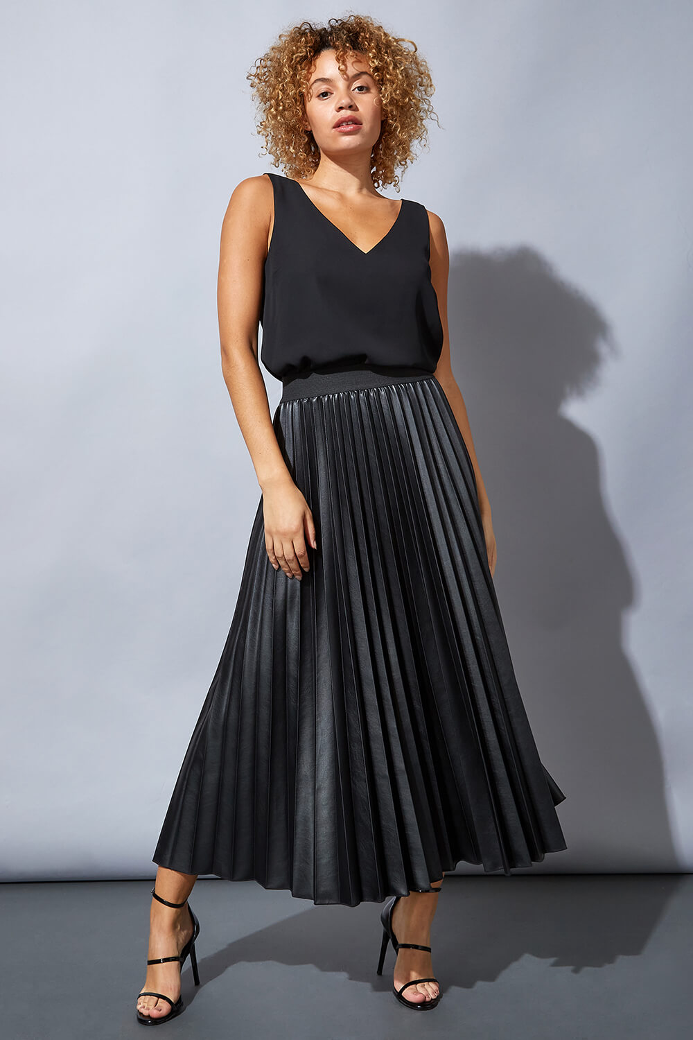 Black Faux Leather Pleated Maxi Skirt