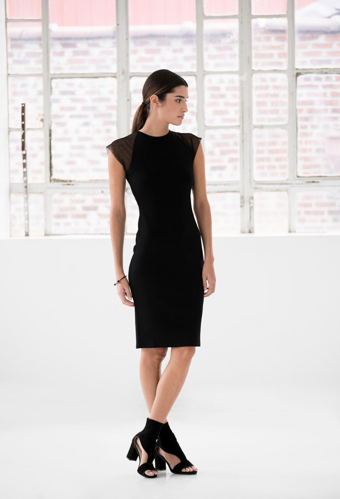 Black Jersey Dress, Black Cocktail Dress, Black Party Dress, Basic Black Dress, Black Clothing, All Occasion Dress, Hallie Dress, MD1012