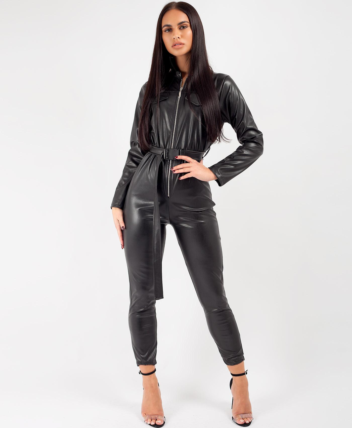 Black PU Faux Leather Utility Belt Bolier Suit
