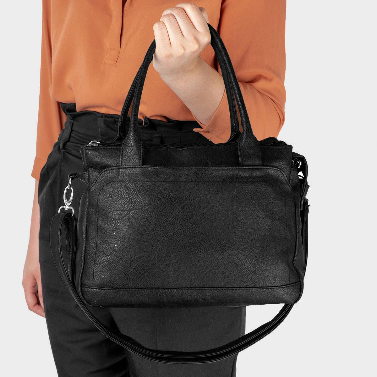 Black Textured Handbag with Strap