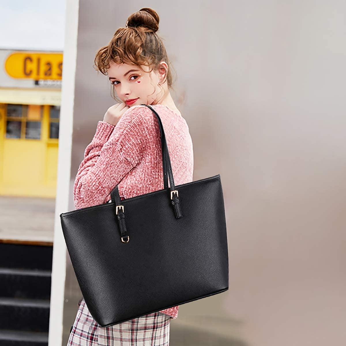 Black Tote Bag, COOFIT Handbags Black Handbags for Ladies Black Handbags Fashion Designed Women Handbag Ladies Black Leather Bag Shoulder Bag Thanksgiving Gift