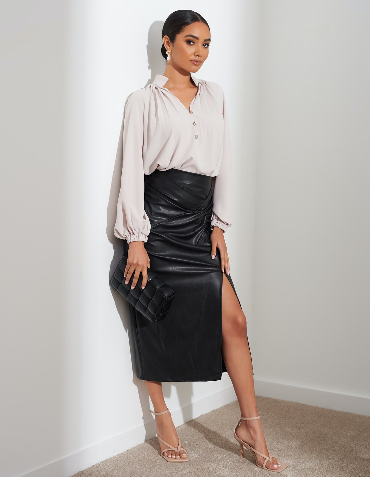 Black Twist Detail Midi Leather Skirt With Thigh Split