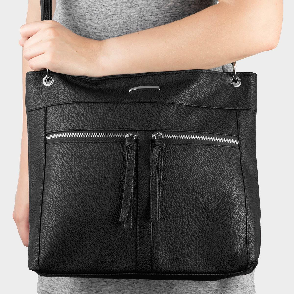 Black Zip Detail Cross Body Handbag