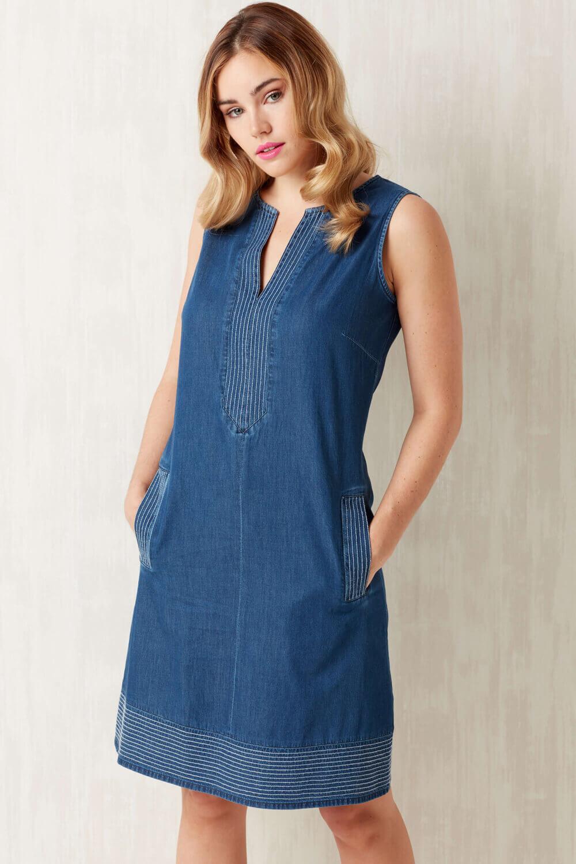 Blue V-Neck Denim Shift Dress