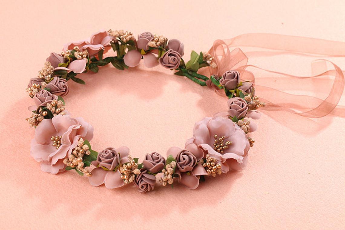 Bridal hair flower, bridal flower crown, wedding flower crown, floral crown, unisized flower crown, flower headband