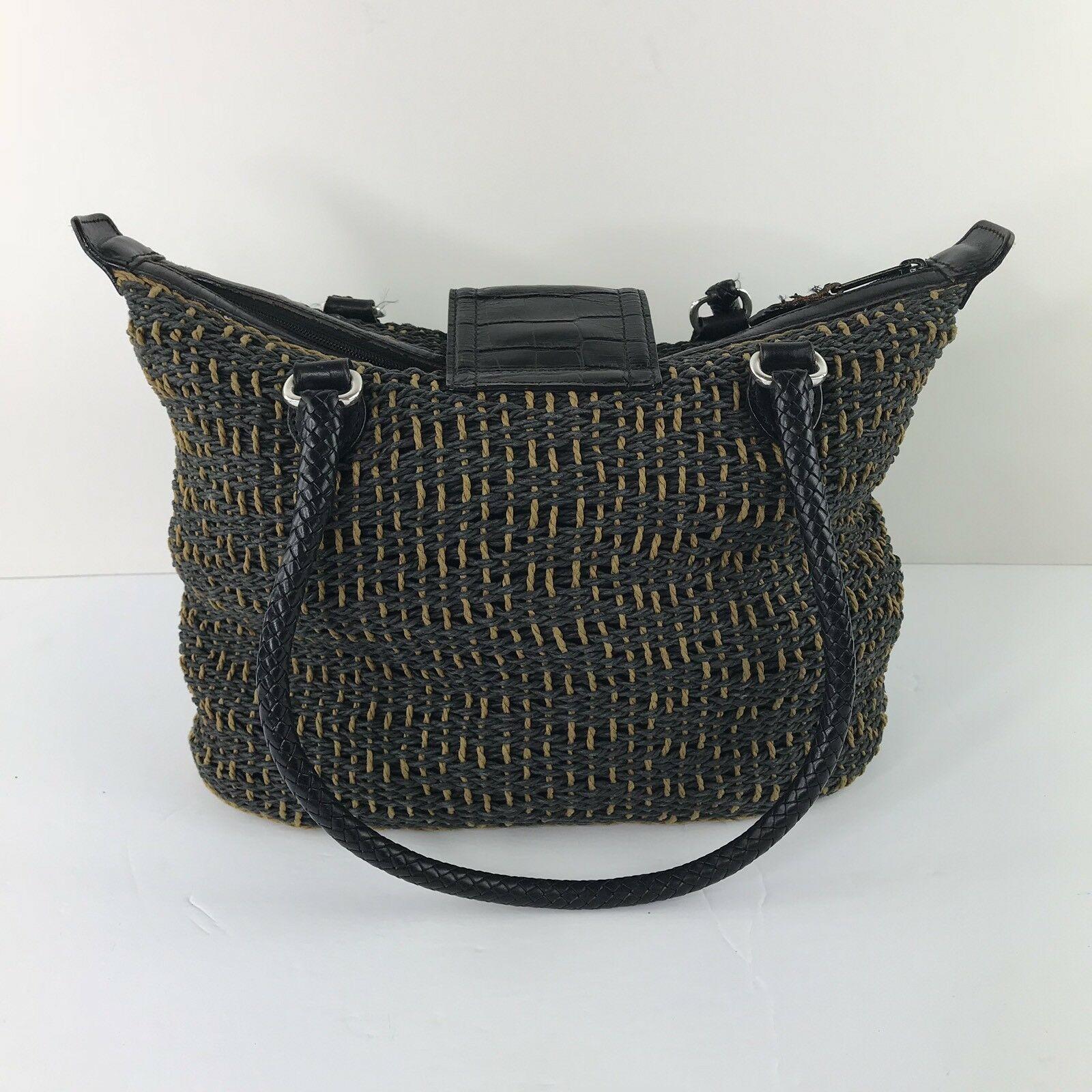 Brighton Black & Camel Woven Cord Tote Purse Braided Leather Handle BoHo Z14