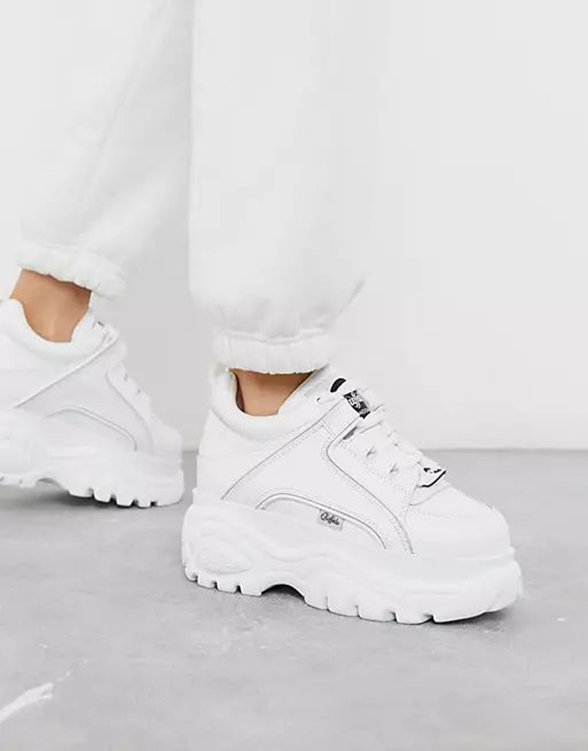 Buffalo London classic lowtop platform chunky trainers in white