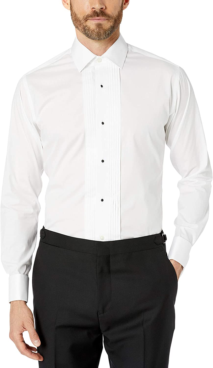 Buttoned Down Men's Slim Fit Easy Care Bib-Front Spread-Collar Tuxedo Shirt