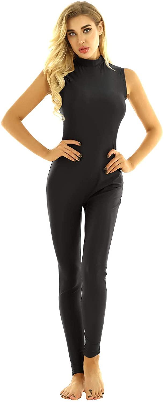 CHICTRY Womens Adult Solid Spandex Nylon Turtleneck Tank Dance Unitard Bodysuit Jumpsuits