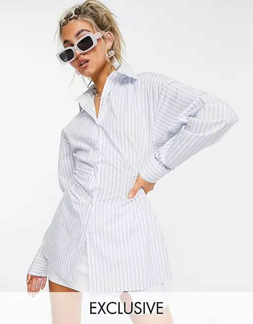 COLLUSION cinched waist stripe shirt in blue