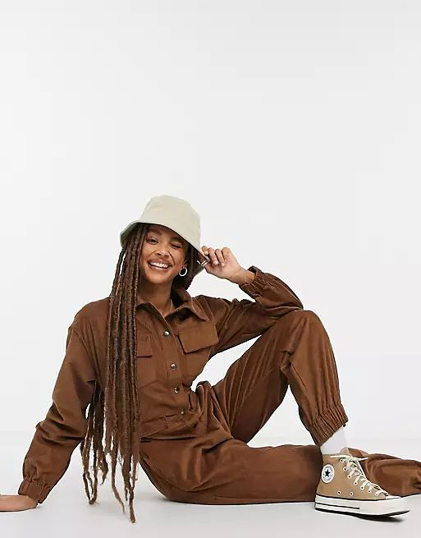 COLLUSION cord boilersuit in chocolate