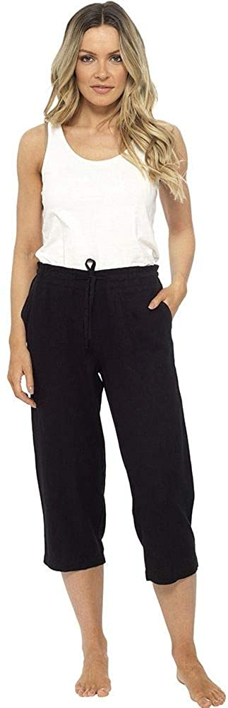 Causeway Bay Ladies Linen Blend Summer Cropped Trousers
