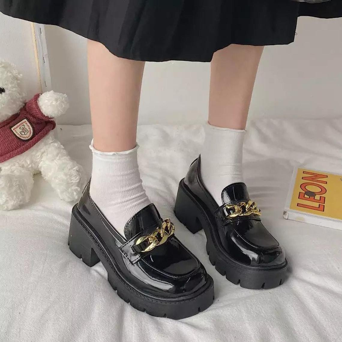 Chain trim chunky loafers