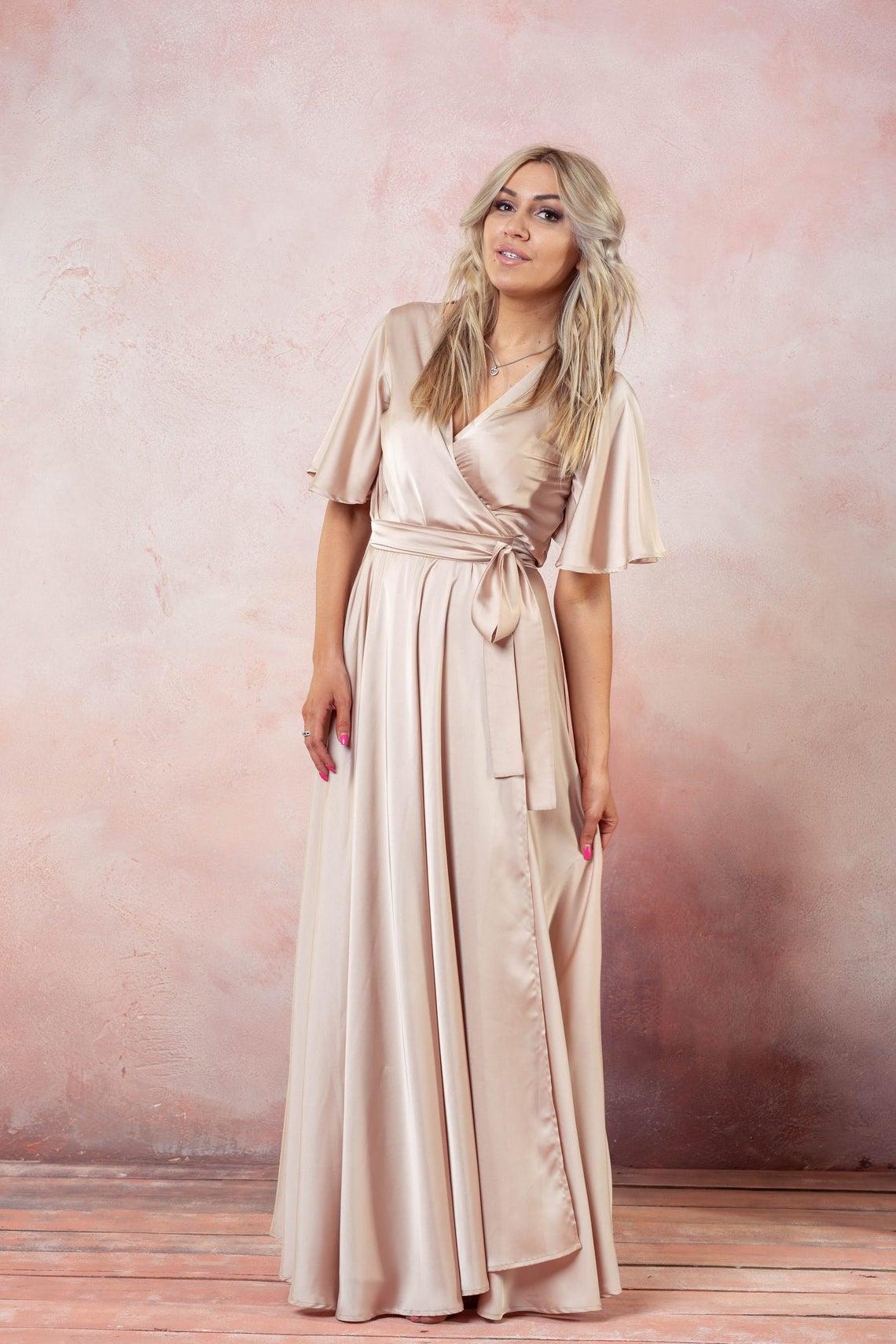 Champagne Wrap Dress, Flutter Sleeve Long Dress, Silk Maxi Dress, Wrap Bridesmaid Gown, Flutter Sleeve Bridesmaid Wrap Dress, Boho Gown