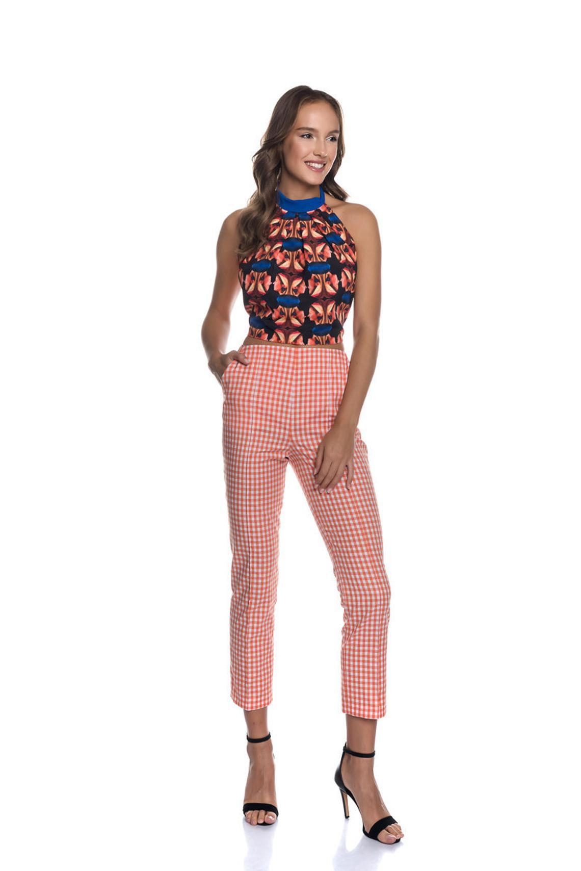 Check Trousers|Vichy Women Pants|Vichy Check Trousers|Cotton Pants|Gingham Pattern Pants|Slim Fit Trousers|Cigarette Women Trousers|Capris