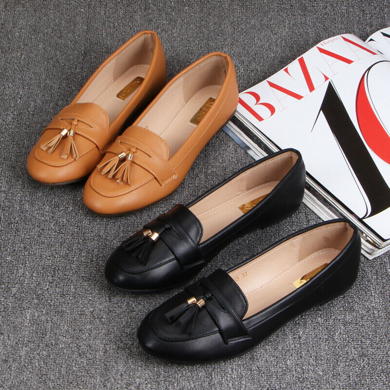 Classic Ladies Chunky Heels Flats Tassel Loafers Driving Moccasins Casual Shoes