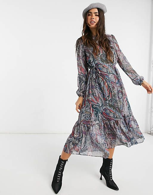 paisley print throw on midi dress in teal blue