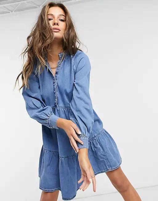 denim smock mini dress in blue