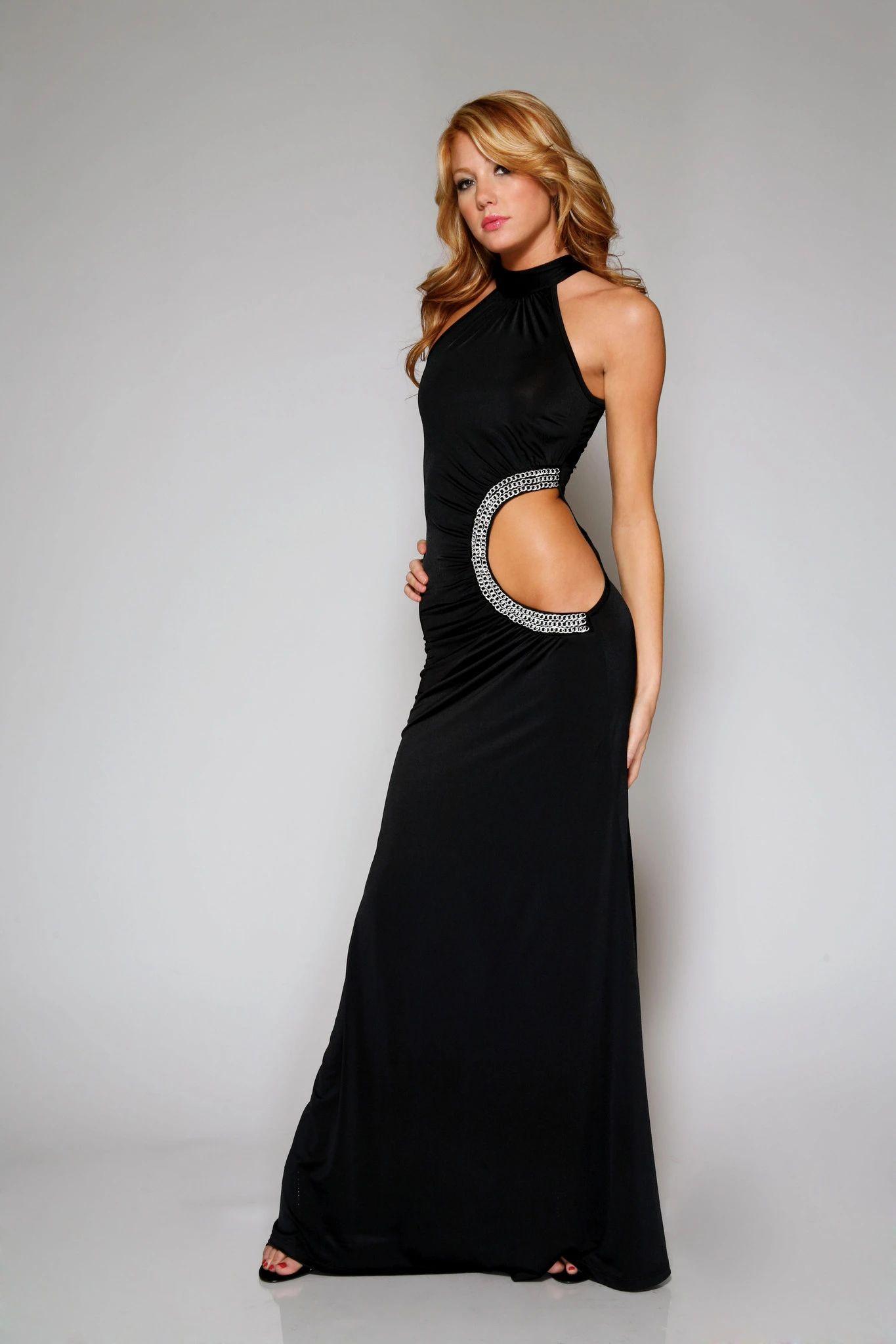 Cut-out Side Chain Detail Long Dress Black