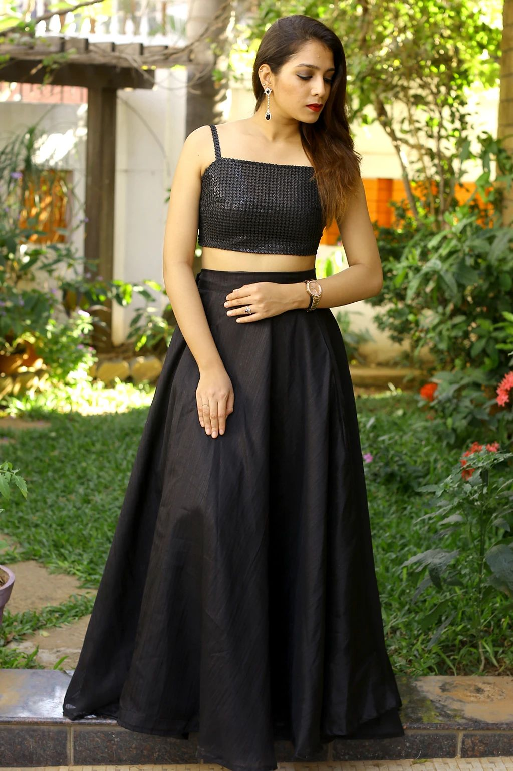 black Sequin Cropped Top with maxi skirt
