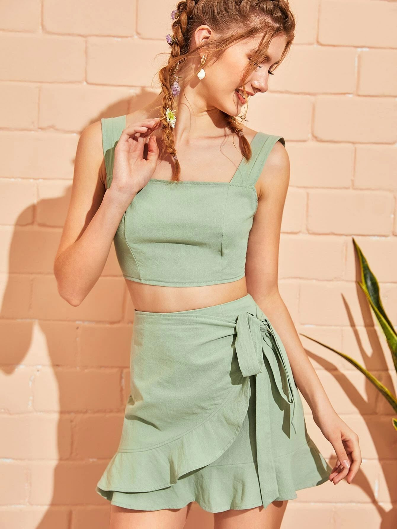 wrap skirt with frill crop top