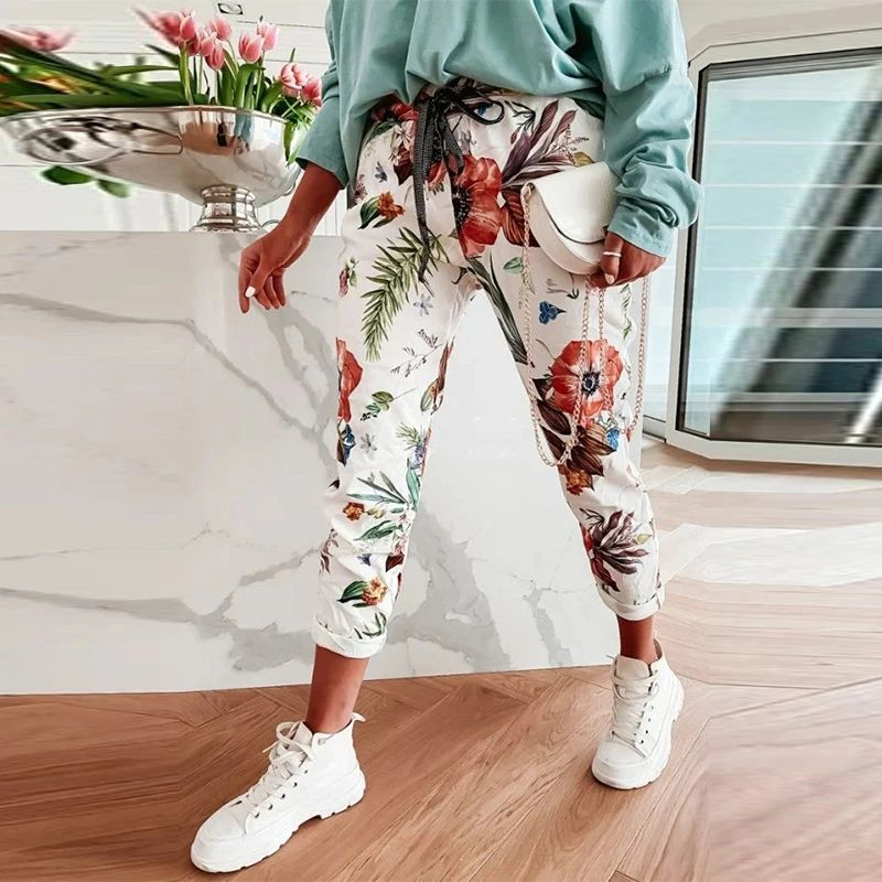 Women Elegant Lace-Up Elastic Waist Sport Trousers Spring Summer Vintage Floral Print