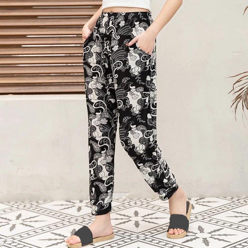 Casual Floral Printed Pants Elastic Waist Thin Pencil Pants Elegant Trousers