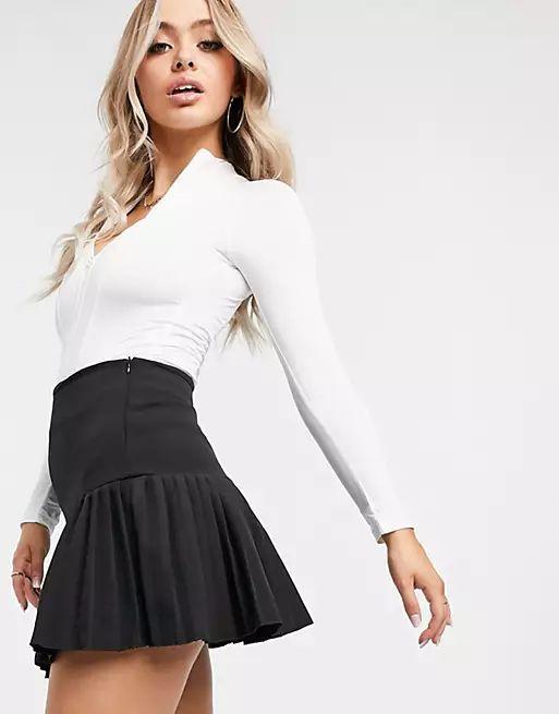 Femme Luxe pleated skater skirt in black