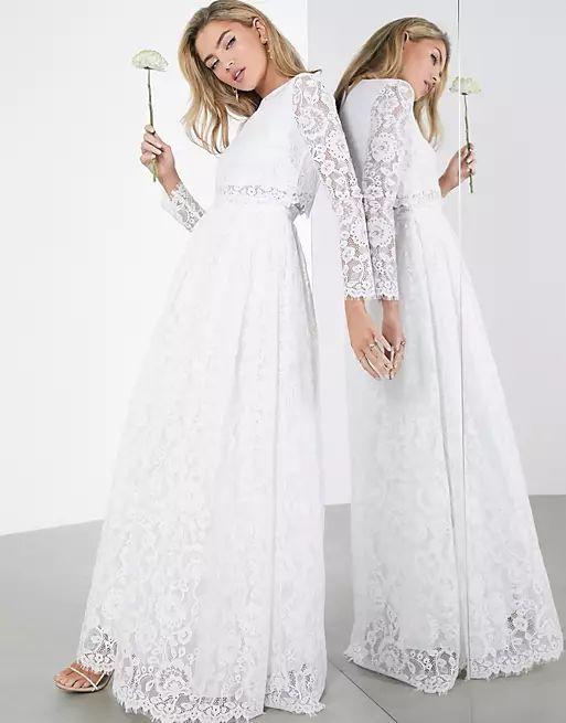 Grace lace long sleeve crop top maxi wedding dress