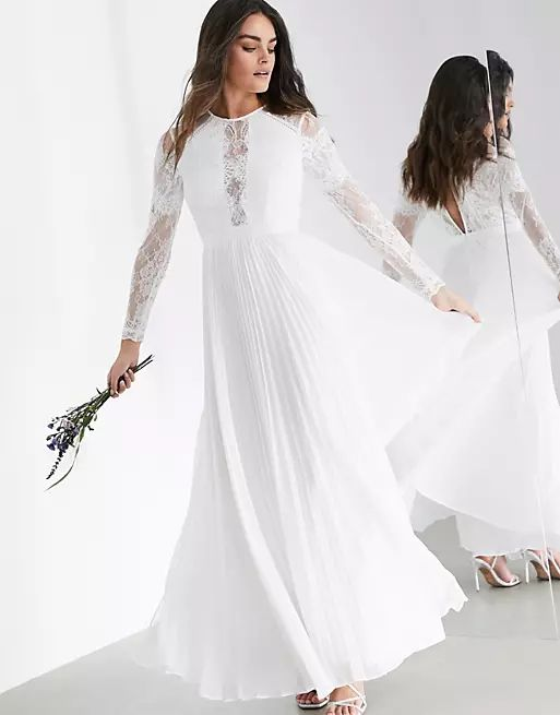 long sleeve lace bodice maxi wedding dress with pleated skirt