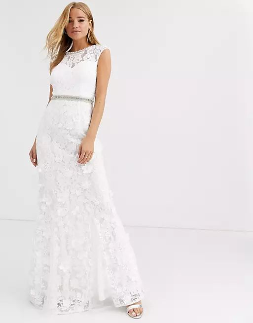 Lipsy lace with embellished maxi dress in ivory