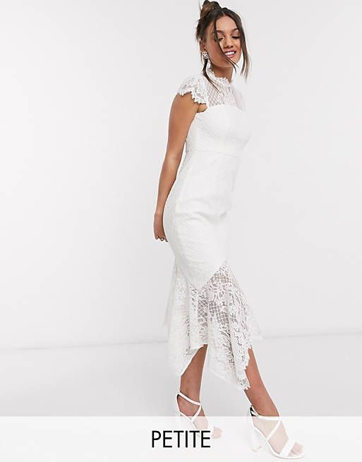 lace hi-low maxi dress with bow back in white