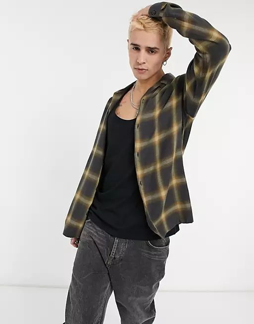 checked shirt in black