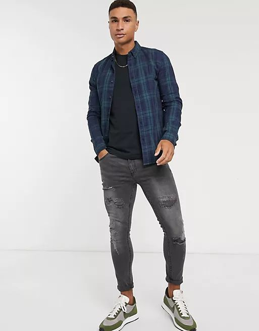 stretch slim button down shirt in teal check